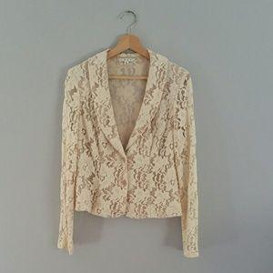 CAbi Lace Jacket/Blazer Cream Size 8